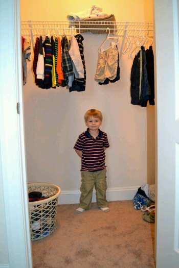 Caelan loves his new closet