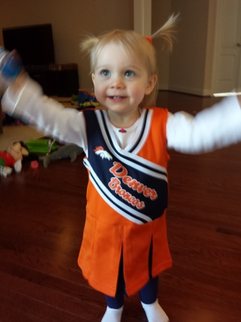 Sadly, the broncos ended their season this very day, but the uniform is a 2T so she can wear it next year!