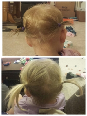 Pig tails, age 1 and age 2